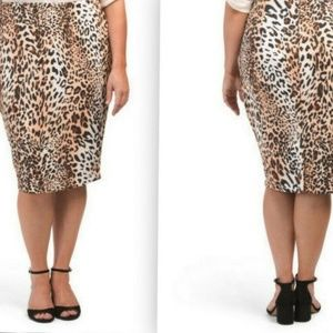 ECI WOMAN Leopard Print Pull-On Skirt 3X